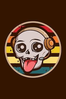 Cráneo divertido y lindo con ilustración vintage de auriculares