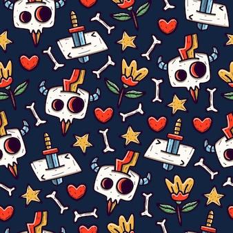 Cráneo doodle de patrones sin fisuras