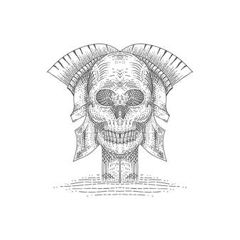 Cráneo espartano ilustración vectorial