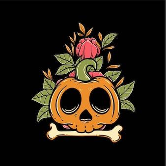 Cráneo especial de halloween con hueso y flor plantilla vector premium