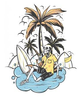Cráneo esqueleto relajado debajo de la palmera con tabla de surf