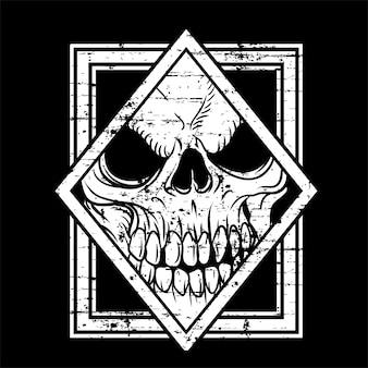 Cráneo de estilo grunge en estilo dibujado a mano