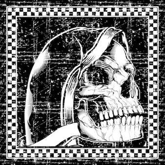 Cráneo de estilo grunge retro, vintage, dibujo a mano detalle