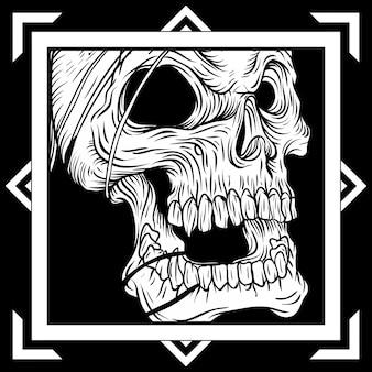 Cráneo de estilo vintage en estilo dibujado a mano