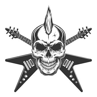 Cráneo de estrella punk rock vintage