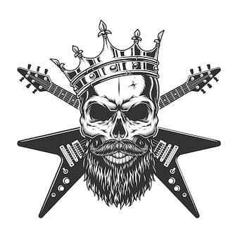 Cráneo de estrella de rock vintage en corona