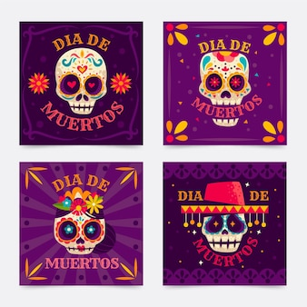 Cráneo floral día de los muertos publicación de instagram