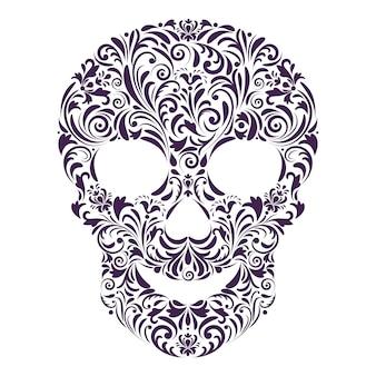 Cráneo floral sobre fondo blanco.