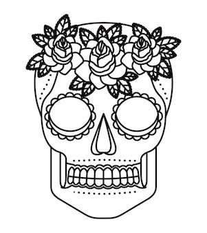 Cráneo y flores tatuaje icono aislado diseño
