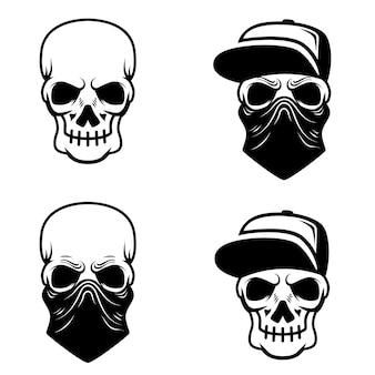 Cráneo de gángster con gorra de béisbol y bandana. elemento de logotipo, etiqueta, emblema, letrero, camiseta. ilustración