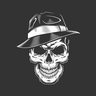 Cráneo de gángster monocromo vintage en sombrero