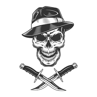 Cráneo de gángster con sombrero fedora