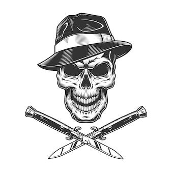 Cráneo de gángster vintage en sombrero fedora