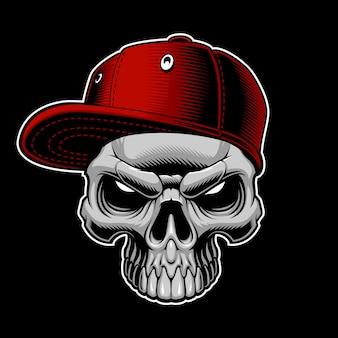Cráneo con gorra sobre fondo oscuro.