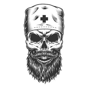Cráneo en el gorro médico