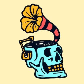 Cráneo gramófono vieja escuela tatuaje vector