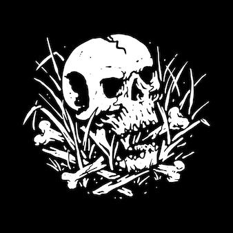 Cráneo grim reaper skateboarding line ilustración gráfica arte vectorial diseño de camiseta