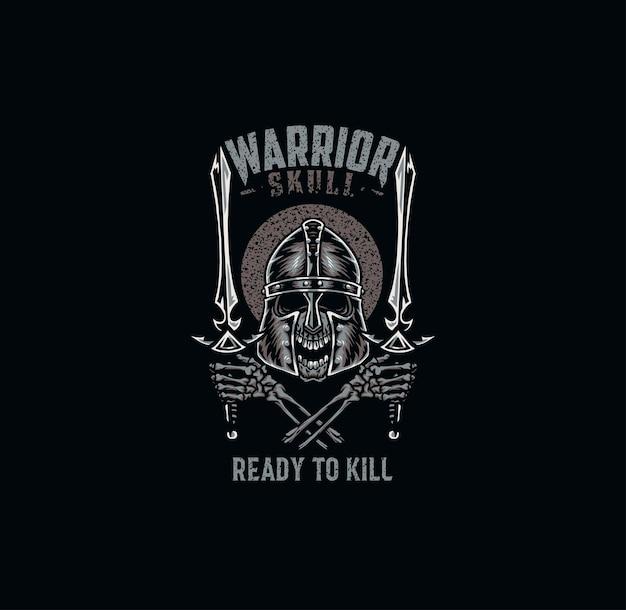 Cráneo de guerrero, diseño gráfico de camiseta, estilo de línea dibujada a mano con color digital