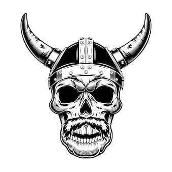 Cráneo de guerrero en la ilustración de vector de casco con cuernos. cabeza monocromática de vikingo con bigotes