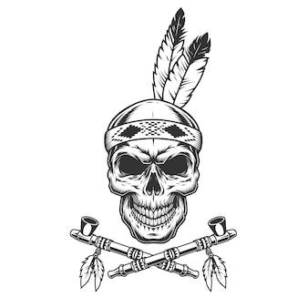 Cráneo de guerrero indio vintage con plumas