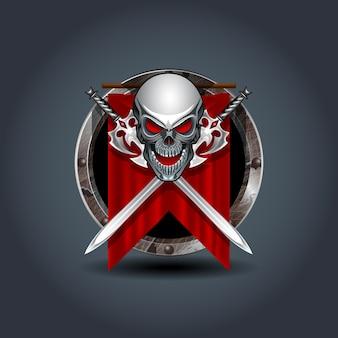 Cráneo guerrero medieval con espadas