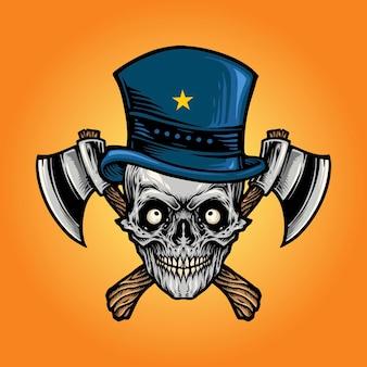 Cráneo de hacha aislado con sombrero de estrella
