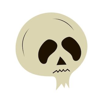 Cráneo de halloween en estilo dibujado a mano. icono de vector.