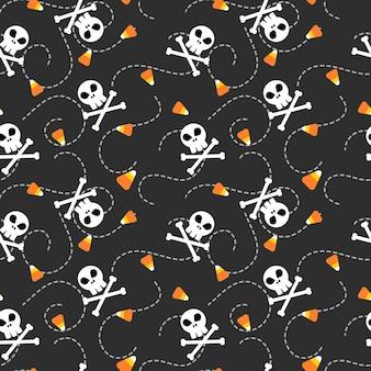 Cráneo de halloween y patrones sin fisuras de maíz de caramelo.