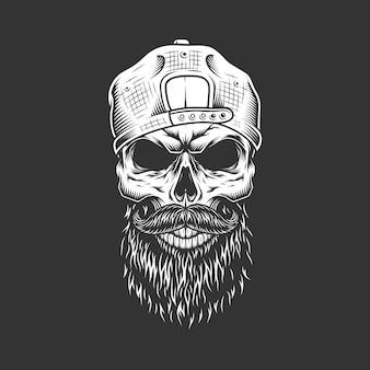 Cráneo de hipster monocromo vintage en gorra