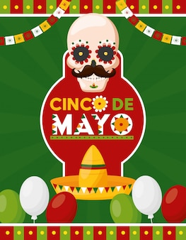 Cráneo de hombre con anuncio de celebración mexicana y globos