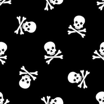 Cráneo huesos cruzados de patrones sin fisuras halloween
