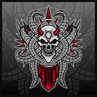 Cráneo huesos mascota esport logo diseño ilustraciones vector plantilla esqueleto logo plantilla dibujos animados