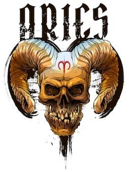 Cráneo humano colorido gráfico con cuernos de demonio
