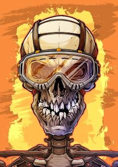 Cráneo humano detallado con gafas protectoras.