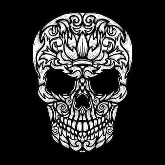 Cráneo humano dibujado a mano con formas florales