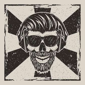 Cráneo humano en gafas con bigote y barba escuchando música