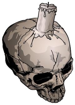 Cráneo humano con ilustración de velas aislado sobre fondo blanco.