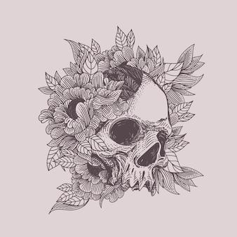 Cráneo con ilustración de adorno de flora