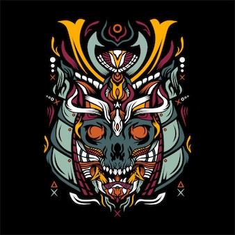 Cráneo con ilustración de casco de samurai