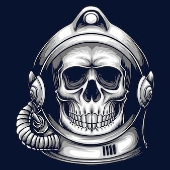 Cráneo con ilustración de dibujos animados de casco de astronauta sobre fondo azul oscuro