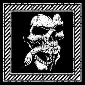 Cráneo de ilustración de estilo grunge, aislado