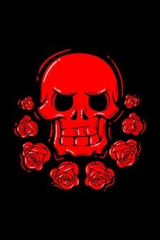 Cráneo con ilustración retro rosa