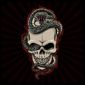 Cráneo con ilustración de serpiente