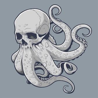 Cráneo con ilustración de tentáculos de pulpo, octoskull