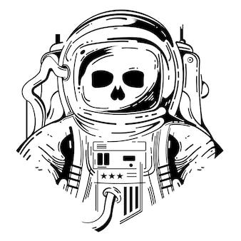 Cráneo con ilustración de traje de astronauta