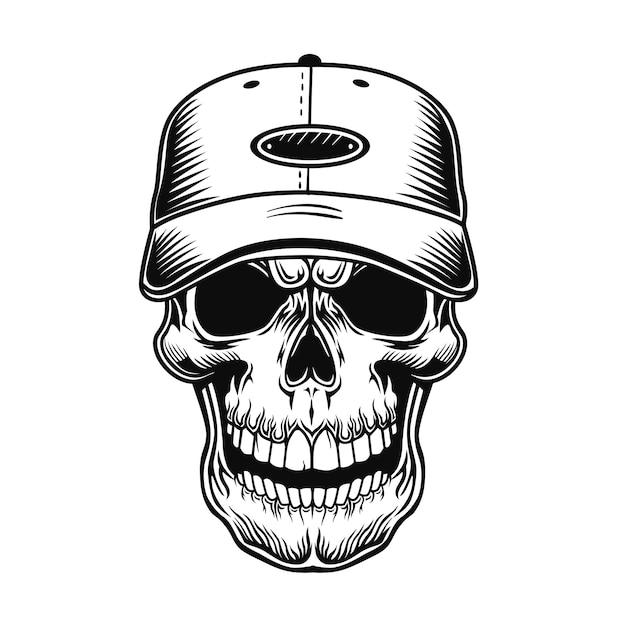 Cráneo de la ilustración de vector de jugador de béisbol. jefe de personaje en gorra