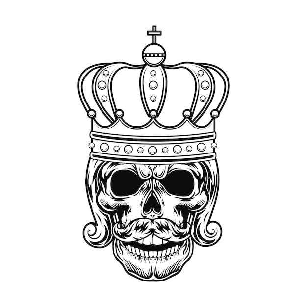 Cráneo de la ilustración de vector de monarca. cabeza de rey o zar con barba, peinado real y corona