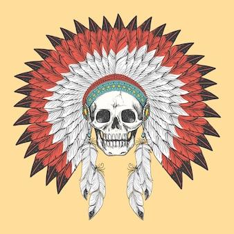 Cráneo indio americano en tocado de plumas