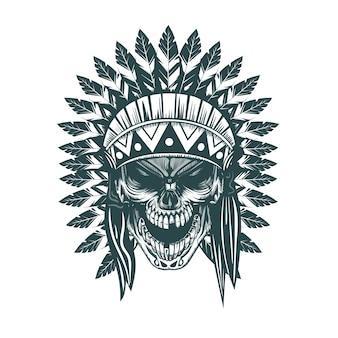 Cráneo indio estilo tatoo dibujado a mano monocromo