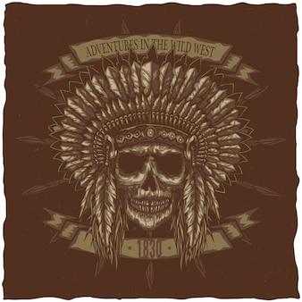 Cráneo del jefe indio americano con lanzas. diseño de etiqueta de camiseta. dibujado a mano ilustración.